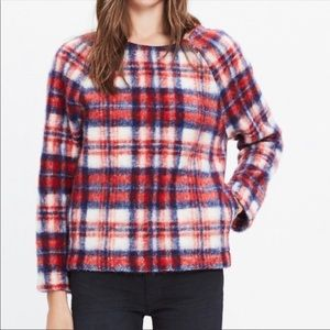 Madewell Brushed Plaid Fuzzy Pullover Sweater